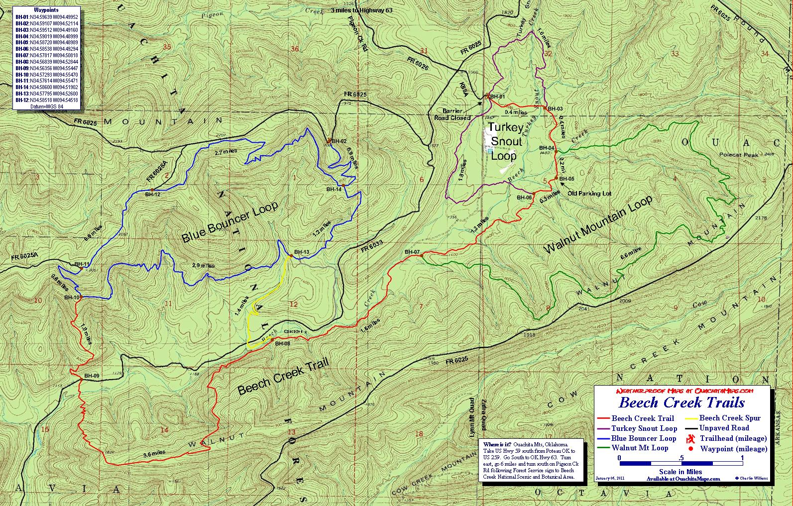 Falls Creek Oklahoma Map.Beech Creek Trails Map Ouachita Mts Oklahoma