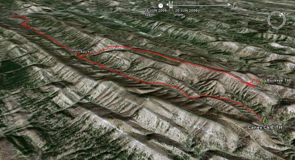 Buckeye Trail-Caney Creek Trail Map, Ouachita Mts, Arkansas