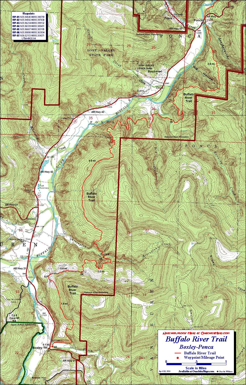 Free Arkansas Topographic Map.Buffalo River Trail Western Section Free Detailed Topo Map