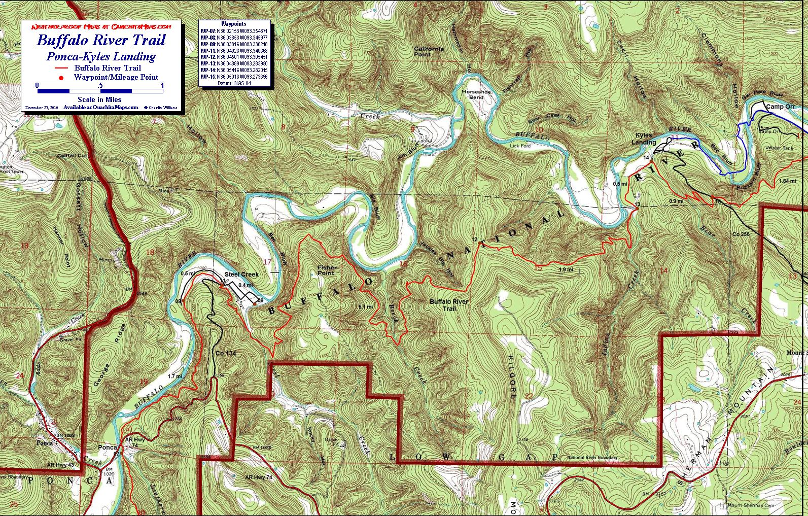 ponca to kyles landing hike. buffalo river trail western section free detailed topo map