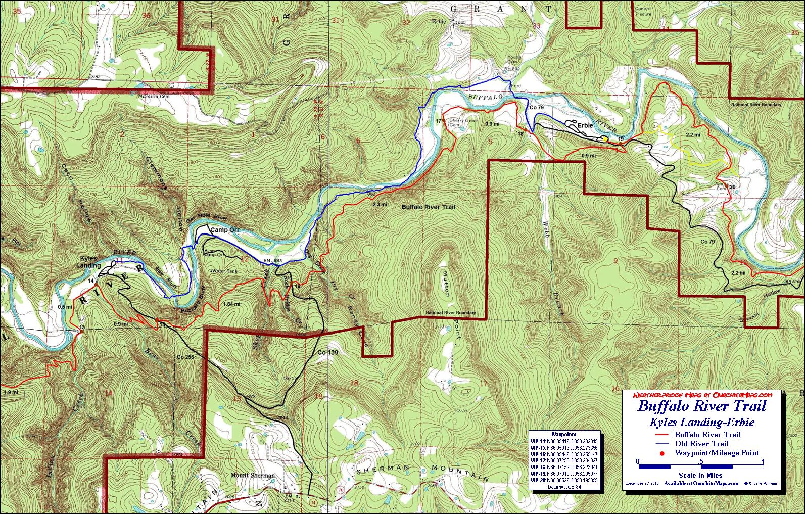 kyles landing to erbie hike. buffalo river trail western section free detailed topo map