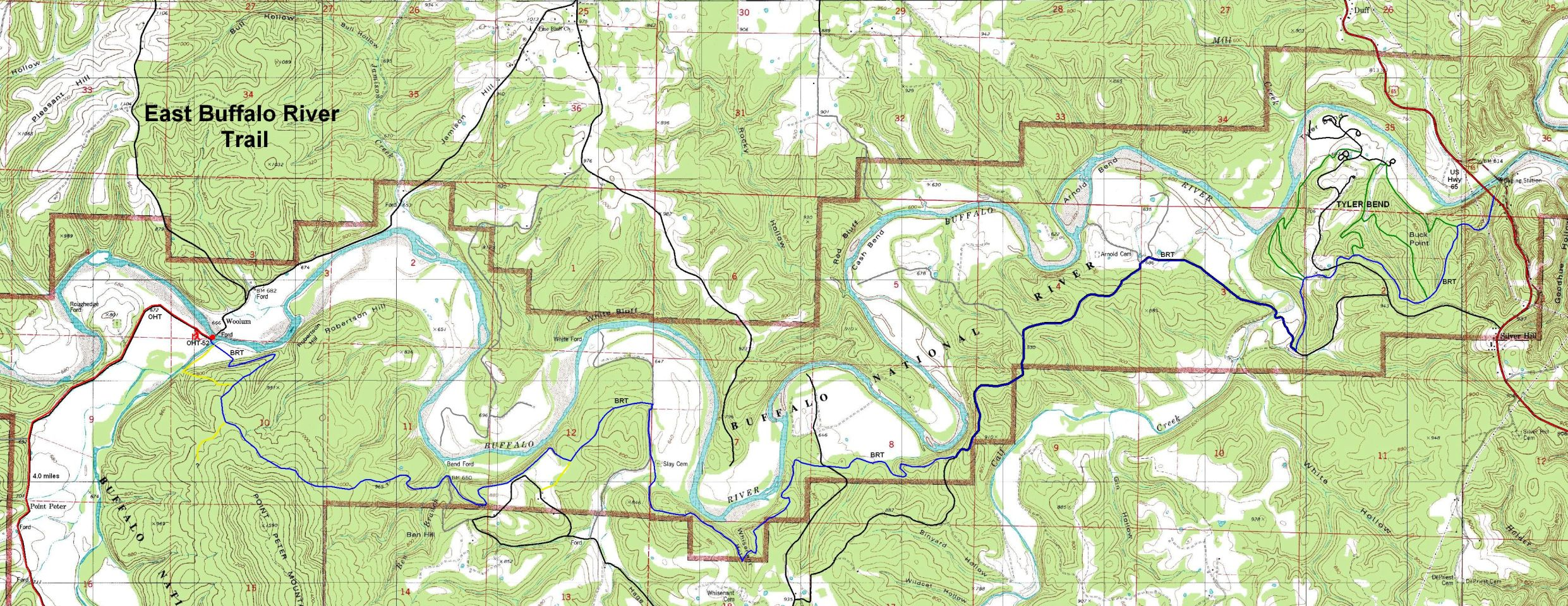 . buffalo river trail eastern section free detailed topo map