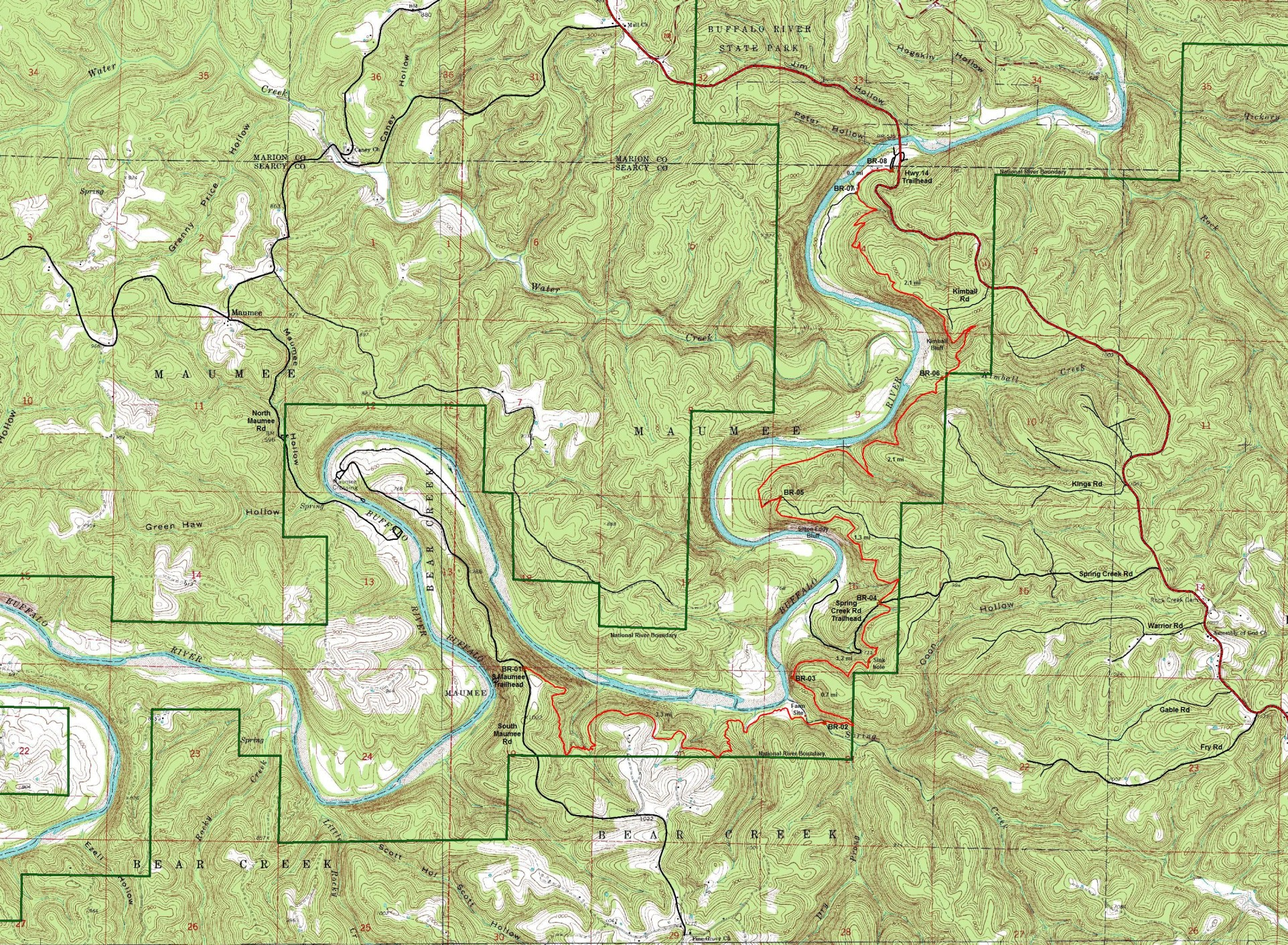 Free Arkansas Topographic Map.Buffalo River Trail Maumee Section Free Detailed Topo Map