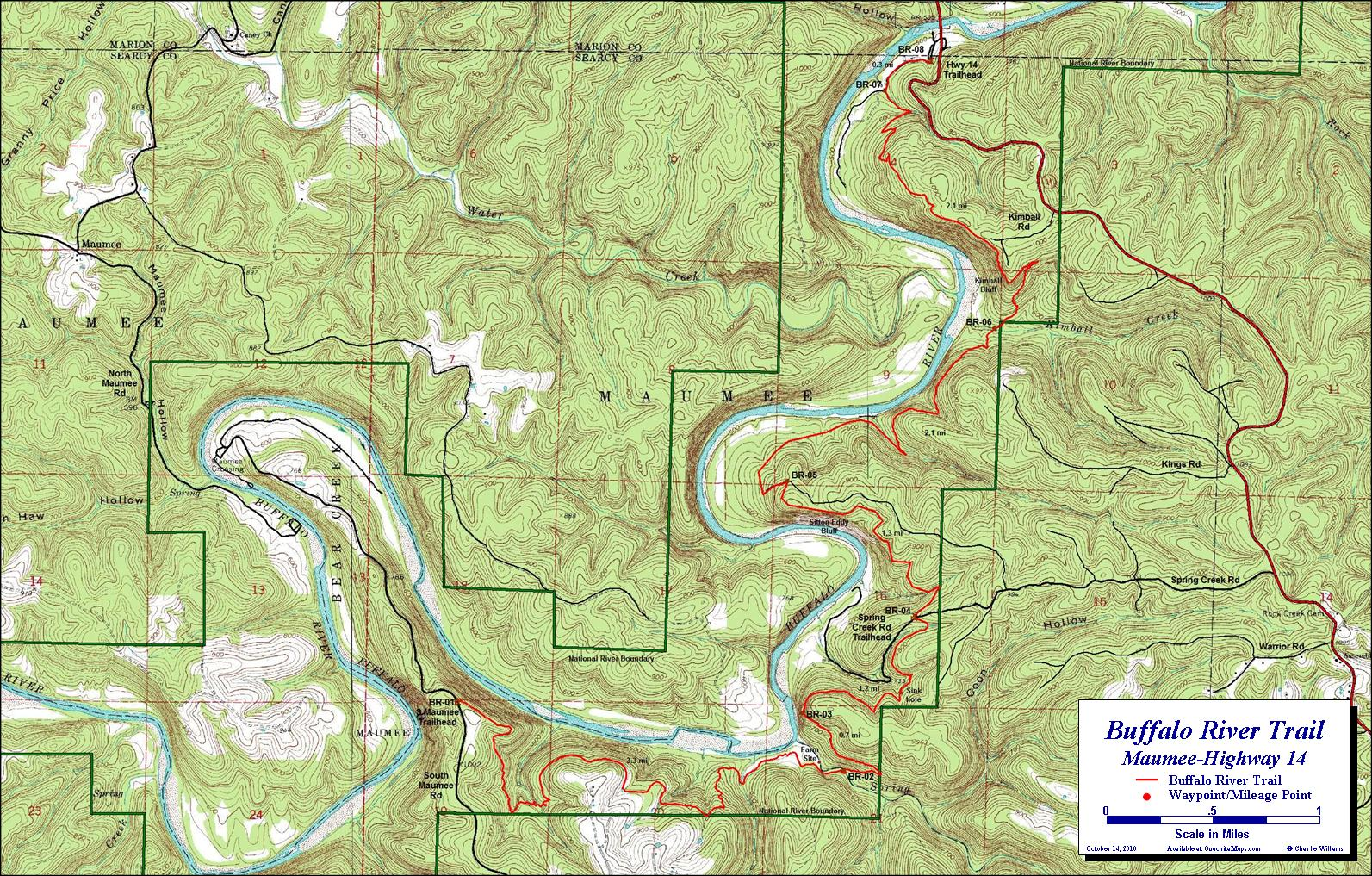 Buffalo River Trail, Maumee Section. Free Detailed Topo Map