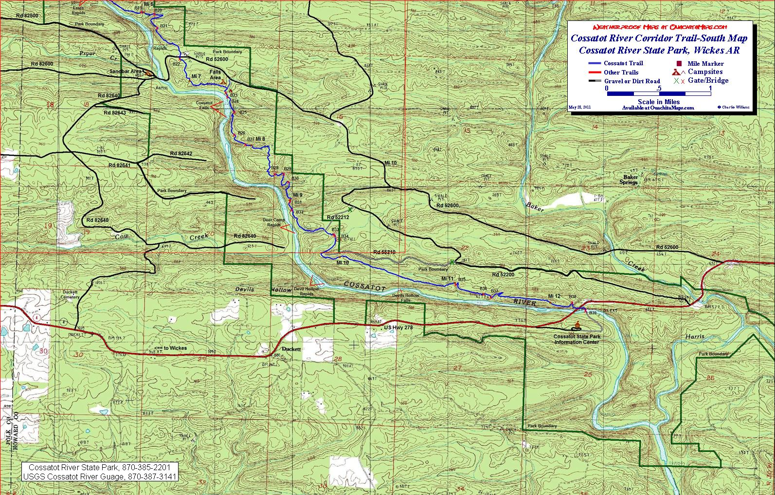 State Parks In Arkansas Map.Cossatot River Corridor Trail Wickes Arkansas Free Detailed Topo Map