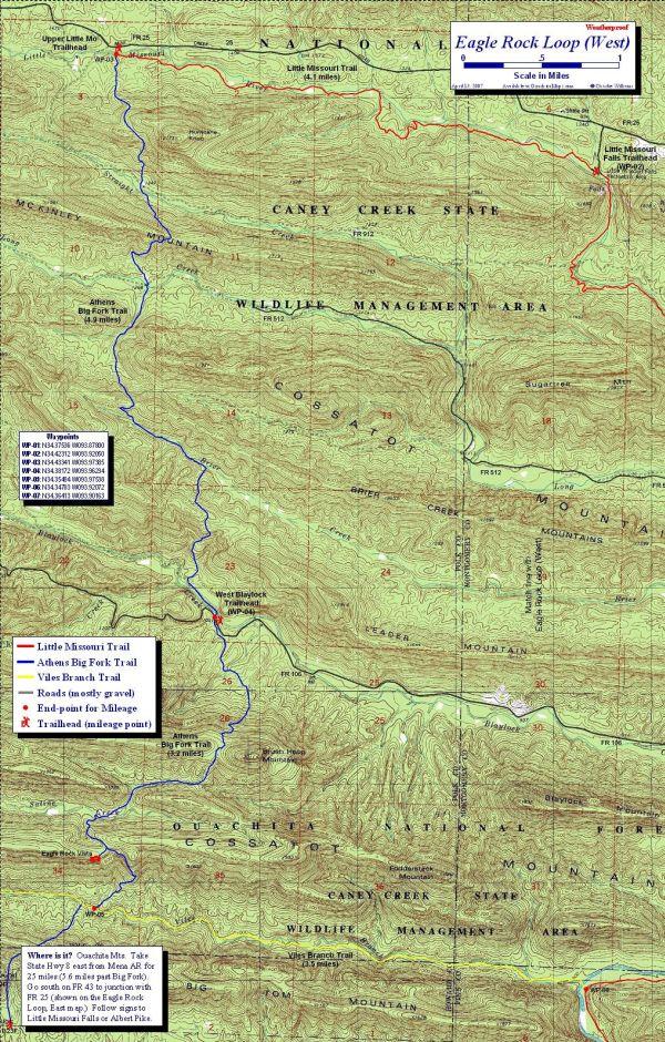 Eagle Rock Loop Map, Ouachita Mts, Arkansas