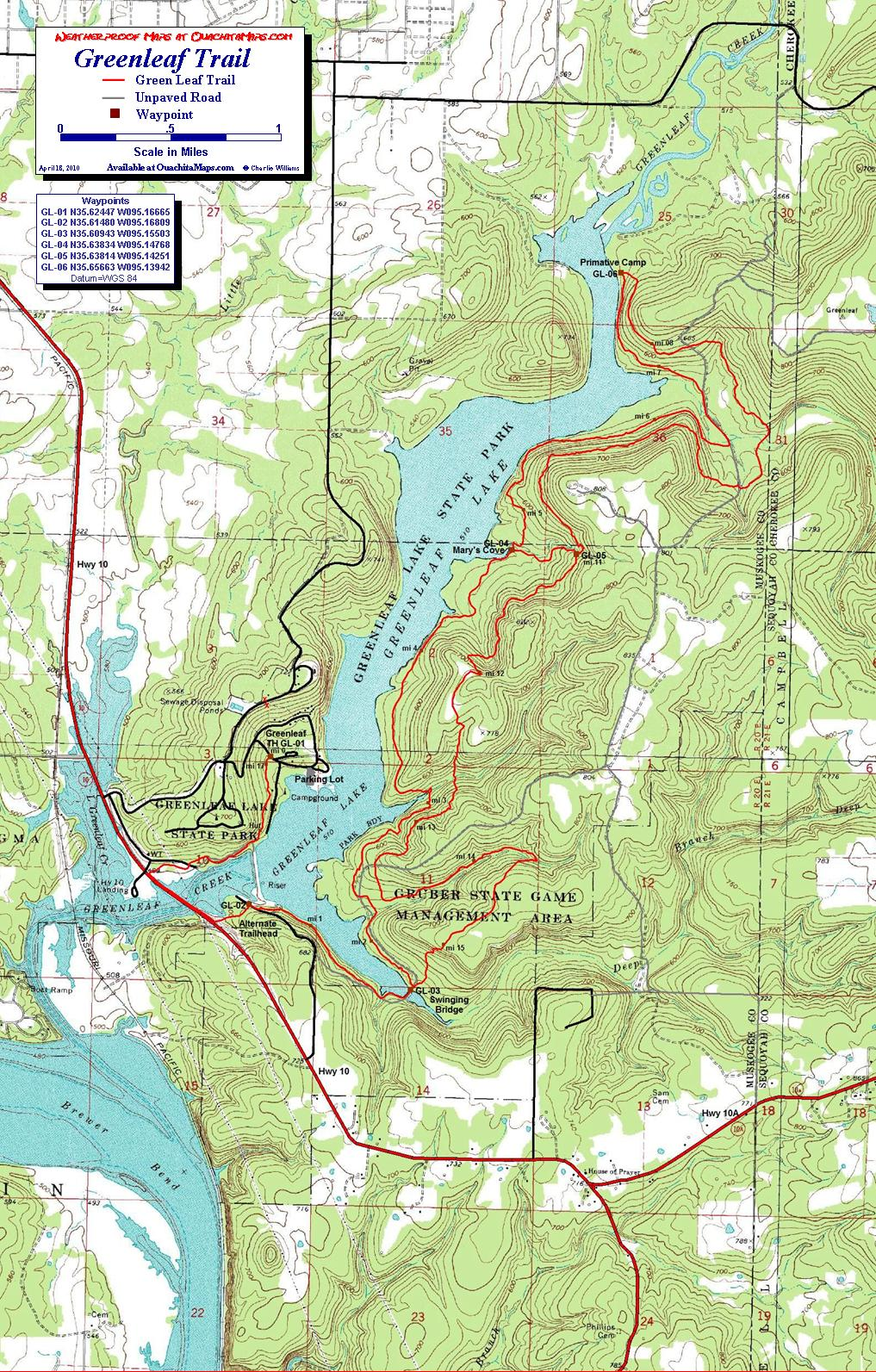 Greenleaf State Park, Oklahoma. Free Detailed Topo Map.