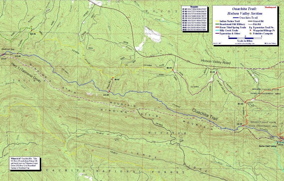 Holson Valley Loop Map Ouachita Trail Oklahoma