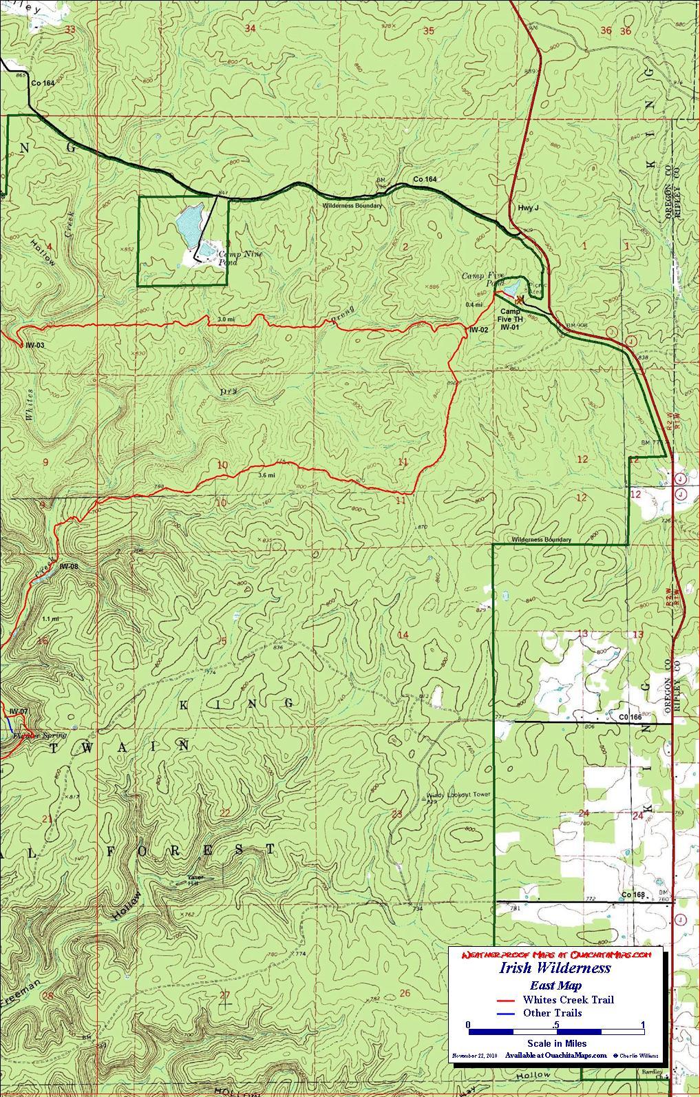 Whites Creek Trail, Irish Wilderness, Missouri. Free Detailed Topo Map