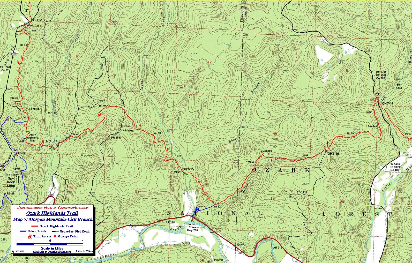 Ozark Highlands Trail Maps, Ozark Mountains, Arkansas  Free detailed