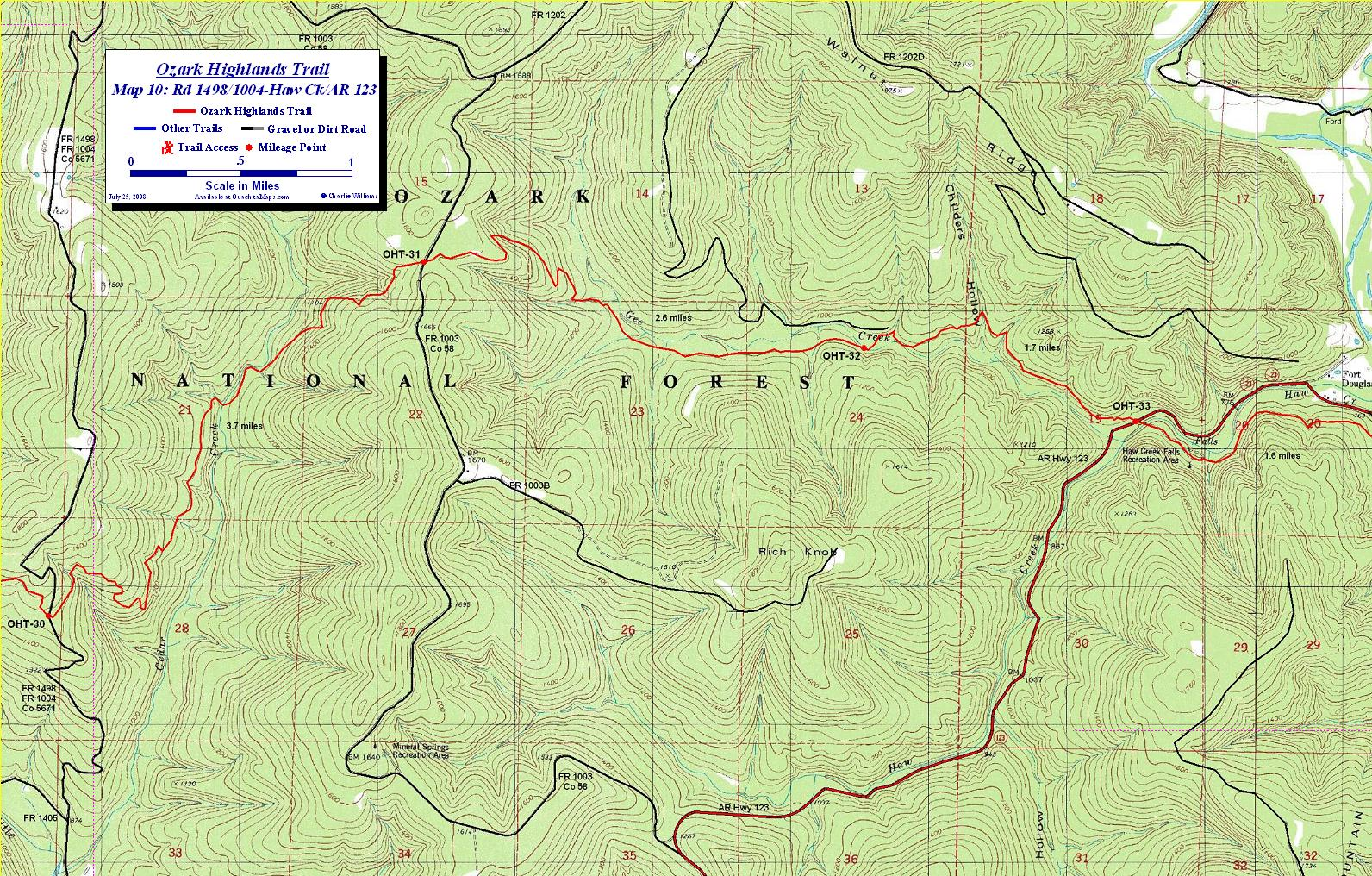 ozark highlands trail maps ozark mountains arkansas free detailed topos