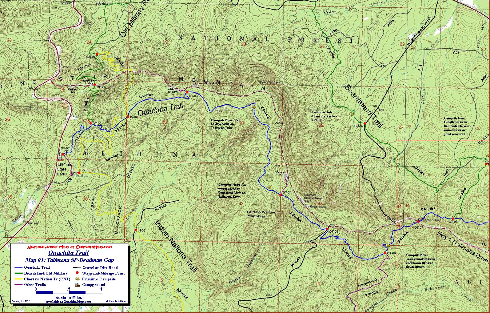 Ouachita Trail Maps, Ouachita Mountains, OK-AR. Free ...