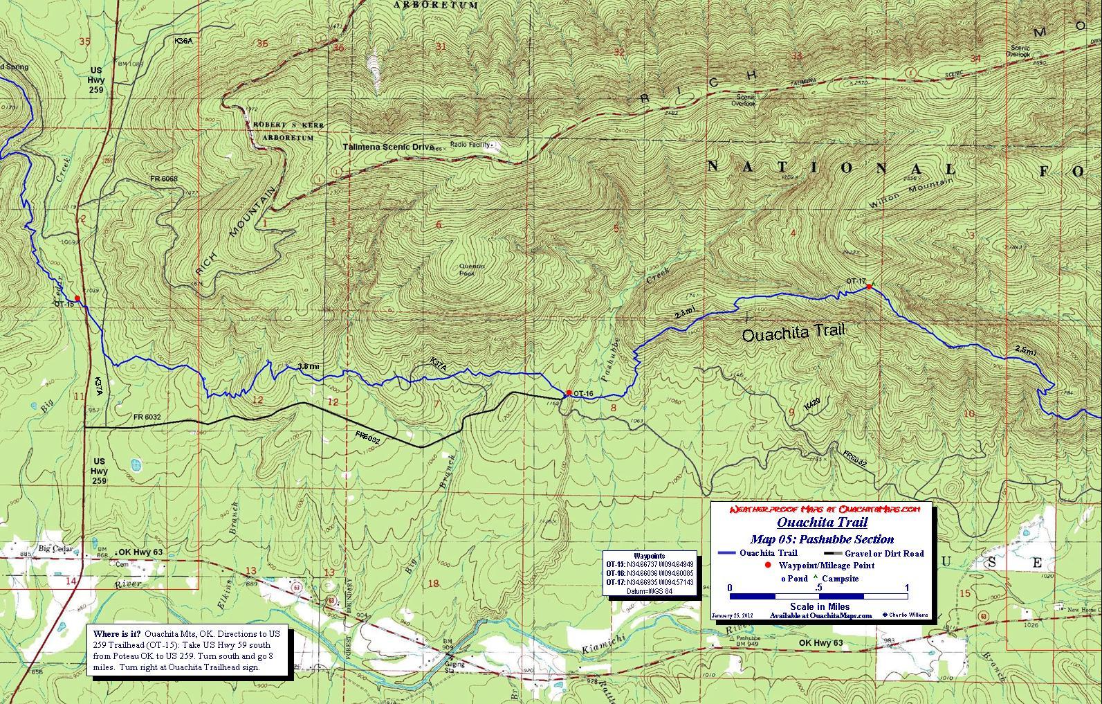 Ouachita Trail Maps Ouachita Mountains OKAR Free Detailed Topos - Map ot the us