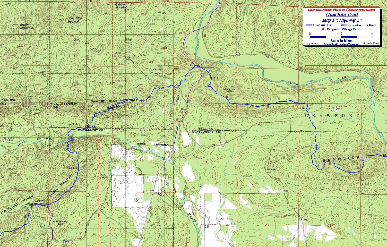 Ouachita Trail Maps Ouachita Mountains OKAR Free