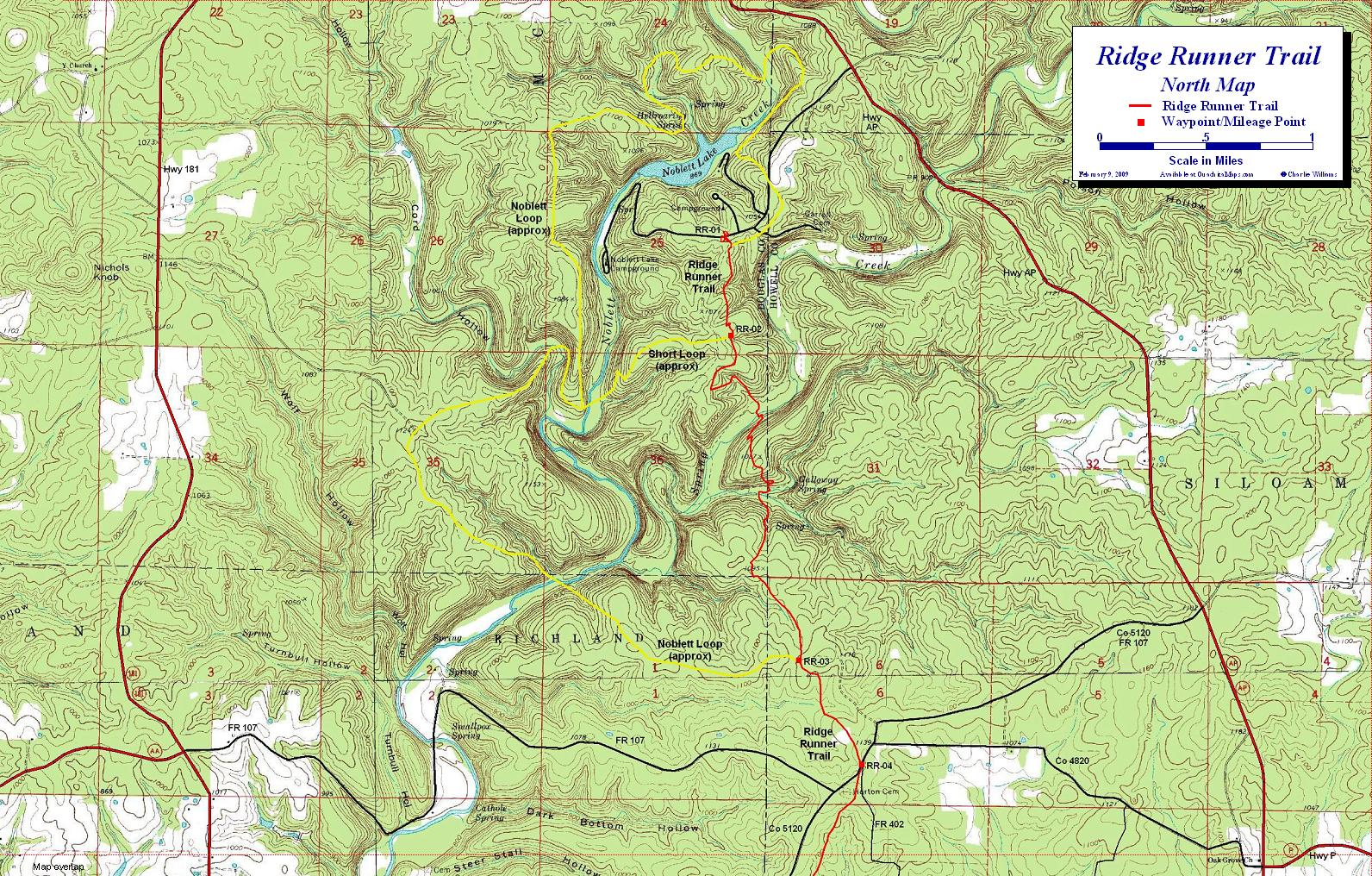 Ridge Runner Trail Mark Twain National Forest Missouri - Missouri lakes map