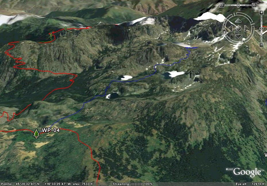 Map Of Oregon Mountain Ranges%0A GE View of Sheep Lake Trail     This images is facing east and shows the  trail passing Basin  Shelf and Gem Lakes  The white on the lakes appears to  be ice