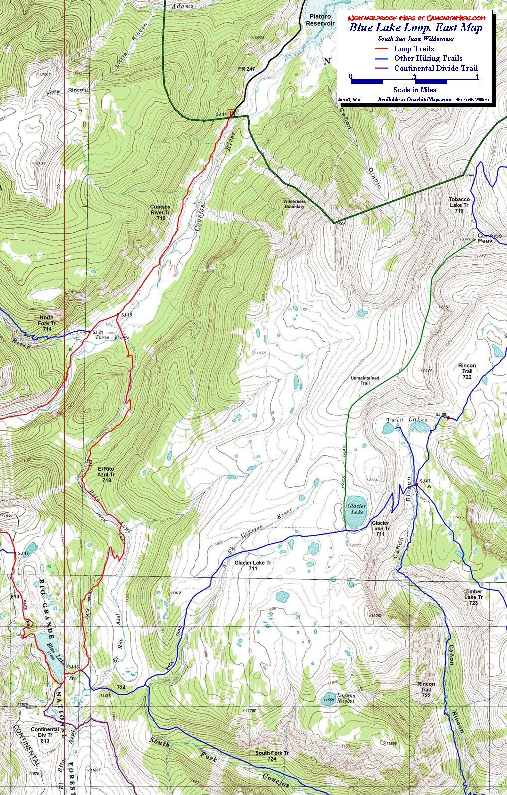 Blue Lake Loop South San Juan Wilderness Colorado Free Topo - Cdt trail map