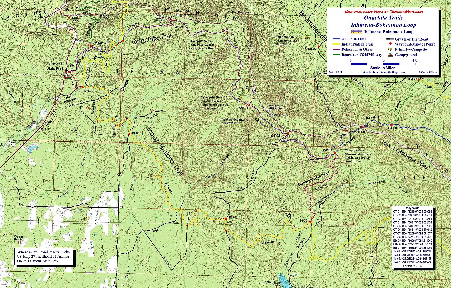 Talihina Oklahoma Map.Talimena Bohannon Loop Of The Ouachita Trail Oklahoma