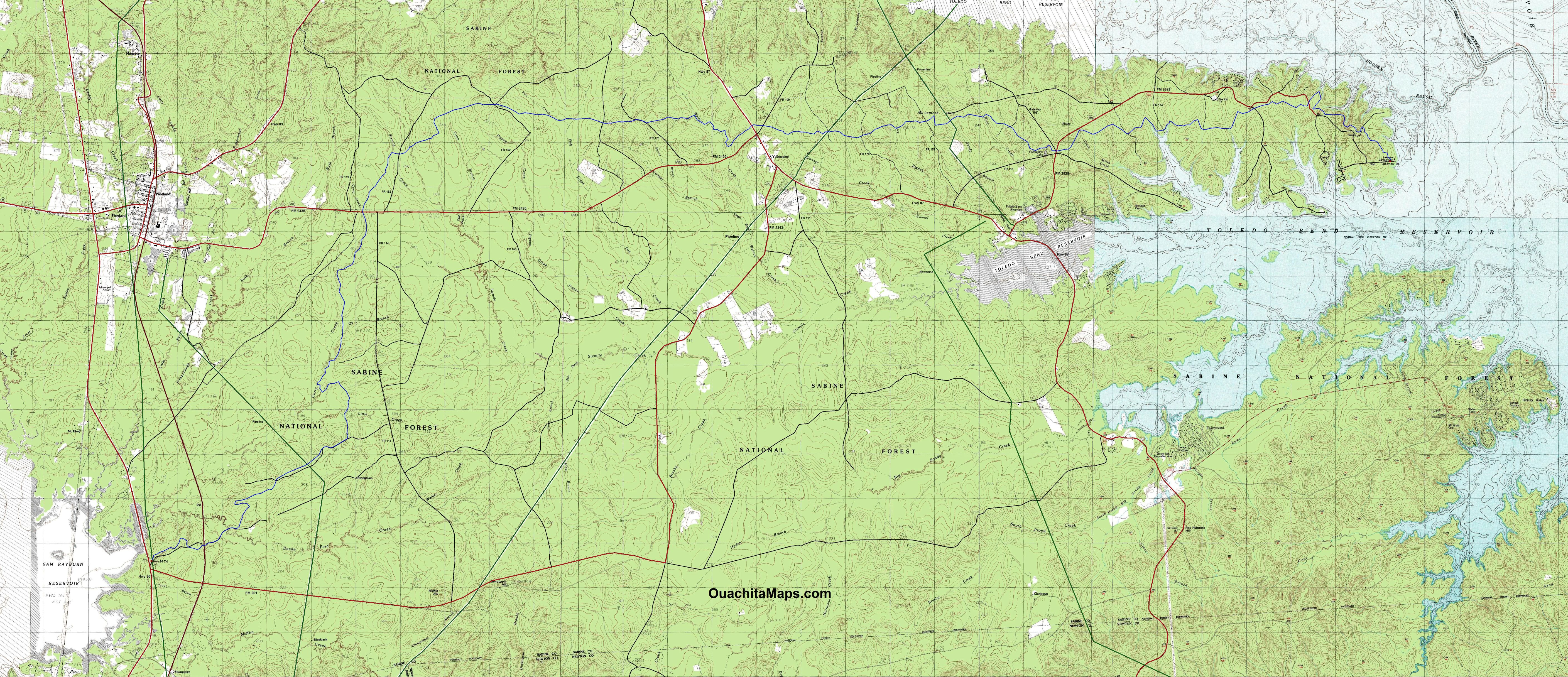 Trail Between The Lakes Sabine National Forest Texas Free - Texas topographic maps free