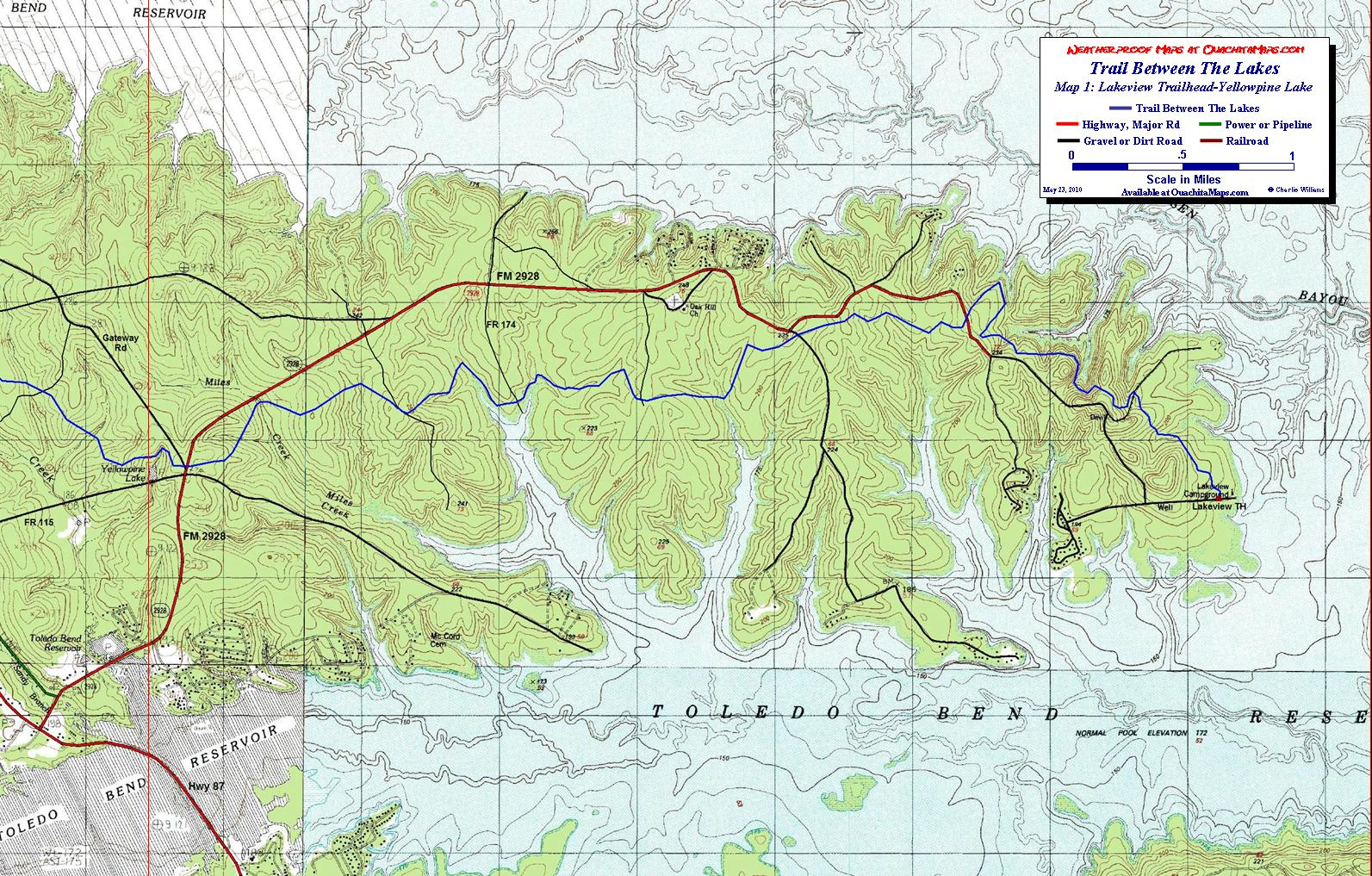 Trail Between The Lakes Sabine National Forest Texas Free - Detailed map of texas