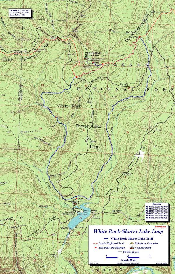 Ark Elevation Map.White Rock Shores Lake Loop Map Ozark Highlands Trail Arkansas